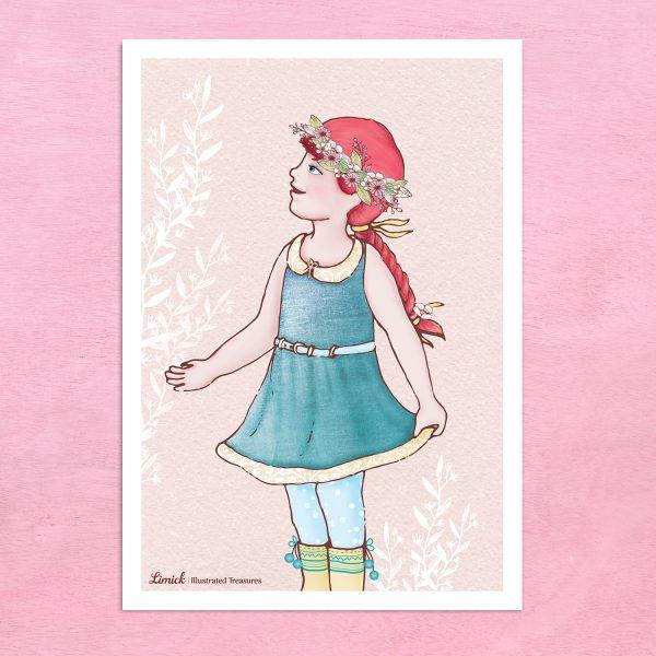 הדפס מאוייר – ילדה עם צמה
