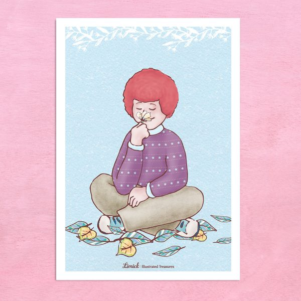 הדפס מאוייר – ילד ג'ינג'י ופרח