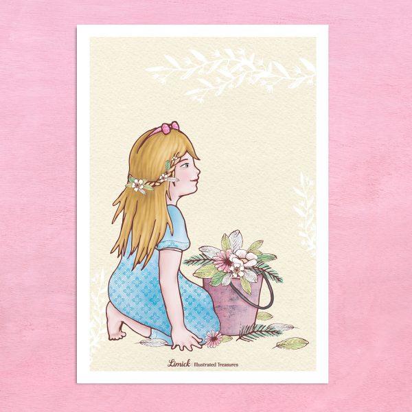 הדפס מאוייר – ילדה עם דלי פרחים